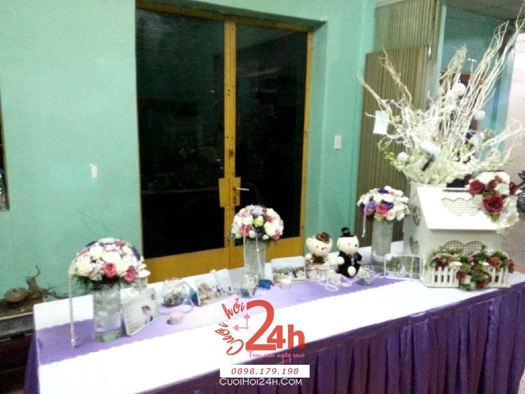 Dịch vụ cưới hỏi 24h trọn vẹn ngày vui chuyên trang trí nhà đám cưới hỏi và nhà hàng tiệc cưới | Bàn ký tên màu tím cà