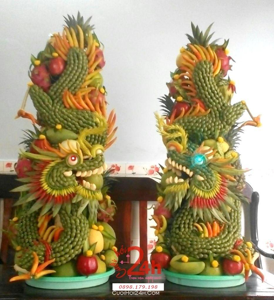 Dịch vụ cưới hỏi 24h trọn vẹn ngày vui chuyên trang trí nhà đám cưới hỏi và nhà hàng tiệc cưới | Cặp rồng phụng trái cây chuyển động hoành tráng