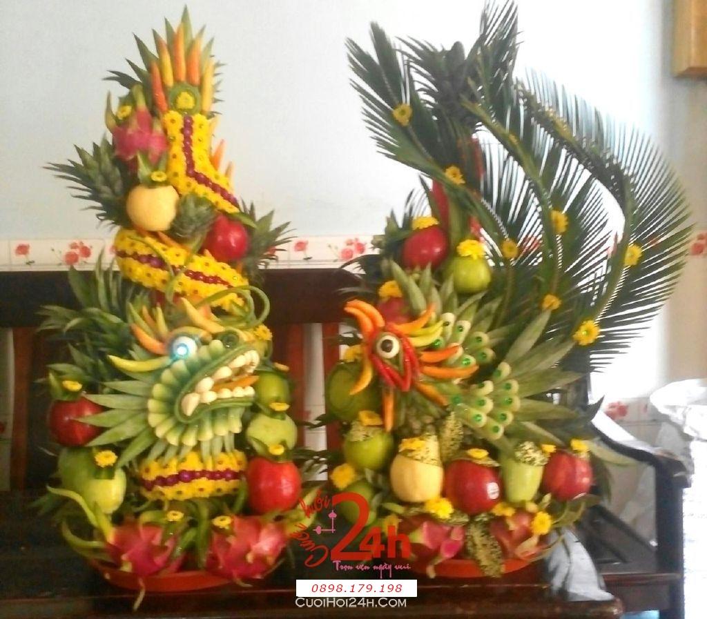 Dịch vụ cưới hỏi 24h trọn vẹn ngày vui chuyên trang trí nhà đám cưới hỏi và nhà hàng tiệc cưới | Cặp rồng phụng trái cây tròn đẹp chưng bàn thờ gia tiên (2)