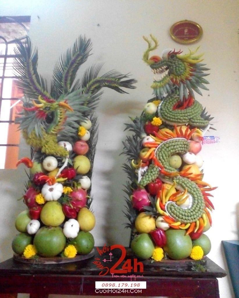 Dịch vụ cưới hỏi 24h trọn vẹn ngày vui chuyên trang trí nhà đám cưới hỏi và nhà hàng tiệc cưới | Cặp rồng phụng trái cây tròn đẹp chưng bàn thờ gia tiên (3)