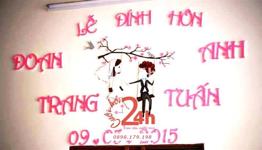 Dịch vụ cưới hỏi 24h trọn vẹn ngày vui chuyên trang trí nhà đám cưới hỏi và nhà hàng tiệc cưới | Cắt dán chữ mẫu lễ đính hôn đặc biệt mới 2015