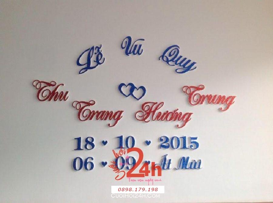 Dịch vụ cưới hỏi 24h trọn vẹn ngày vui chuyên trang trí nhà đám cưới hỏi và nhà hàng tiệc cưới | Cắt dán chữ xốp ngày đám cưới hỏi (04)