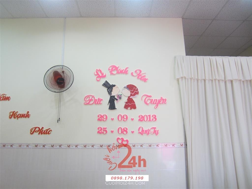 Dịch vụ cưới hỏi 24h trọn vẹn ngày vui chuyên trang trí nhà đám cưới hỏi và nhà hàng tiệc cưới | Cắt dán chữ xốp ngày đám cưới hỏi (08)