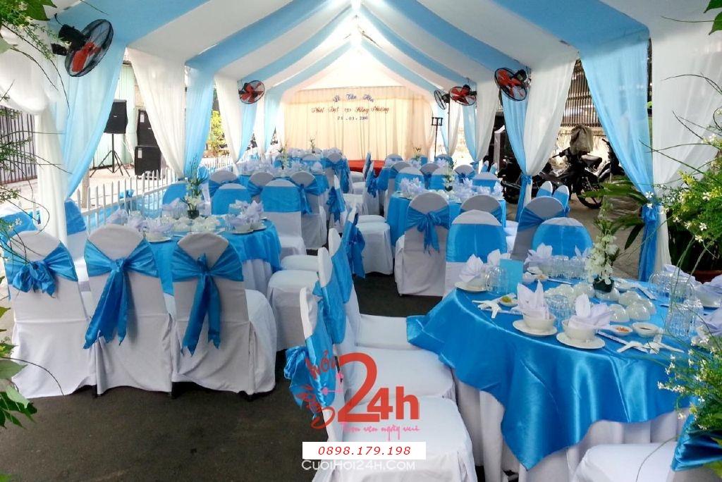 Dịch vụ cưới hỏi 24h trọn vẹn ngày vui chuyên trang trí nhà đám cưới hỏi và nhà hàng tiệc cưới | Cho thuê bàn ghế tiệc cưới tông xanh ngọc (1)
