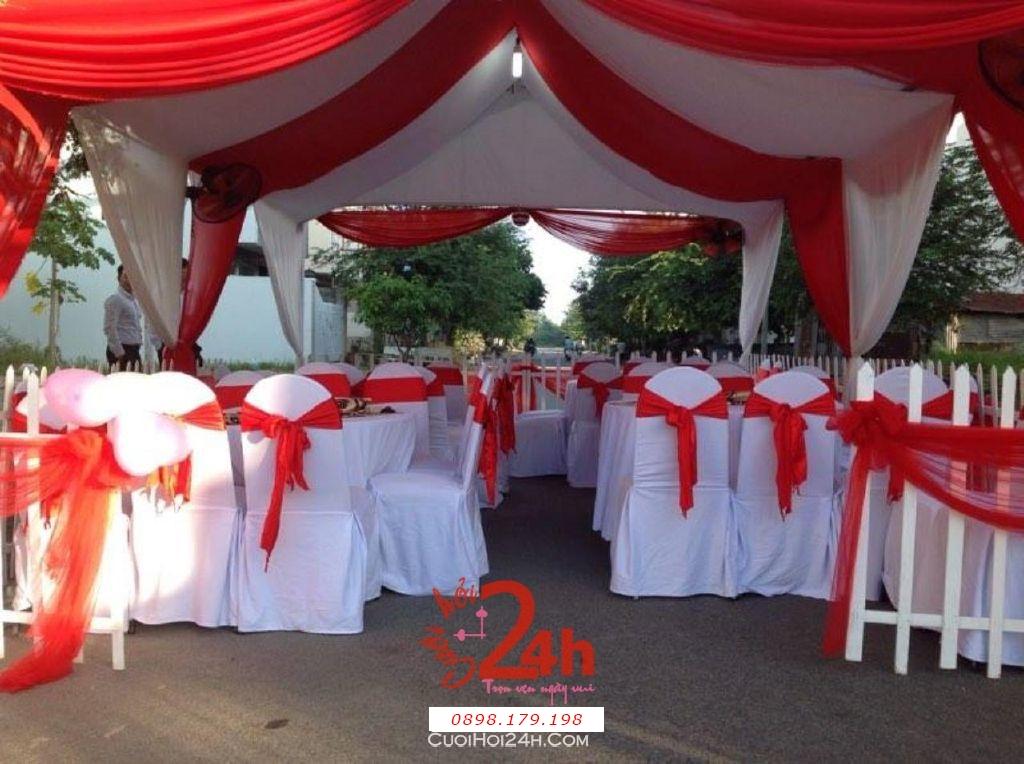 Dịch vụ cưới hỏi 24h trọn vẹn ngày vui chuyên trang trí nhà đám cưới hỏi và nhà hàng tiệc cưới | Cho thuê bàn ghế tông màu đỏ (3)