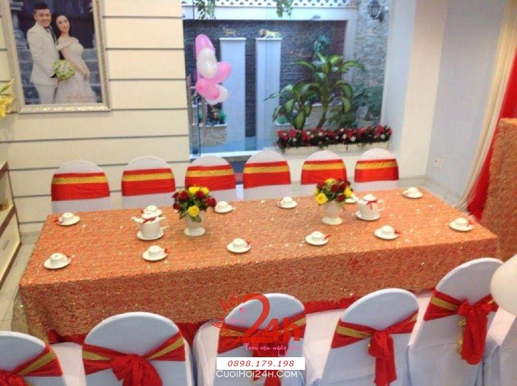 Dịch vụ cưới hỏi 24h trọn vẹn ngày vui chuyên trang trí nhà đám cưới hỏi và nhà hàng tiệc cưới | Cho thuê bàn ghế tông màu đỏ vàng