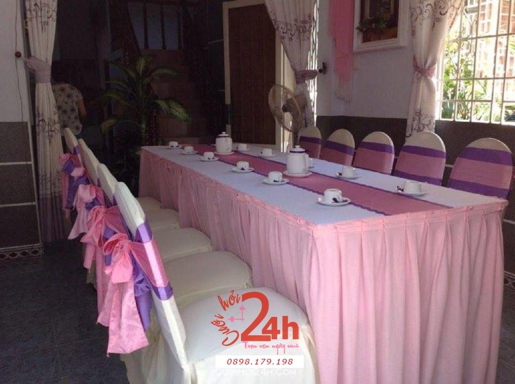 Dịch vụ cưới hỏi 24h trọn vẹn ngày vui chuyên trang trí nhà đám cưới hỏi và nhà hàng tiệc cưới | Cho thuê bàn ghế tông màu tím hồng (1)