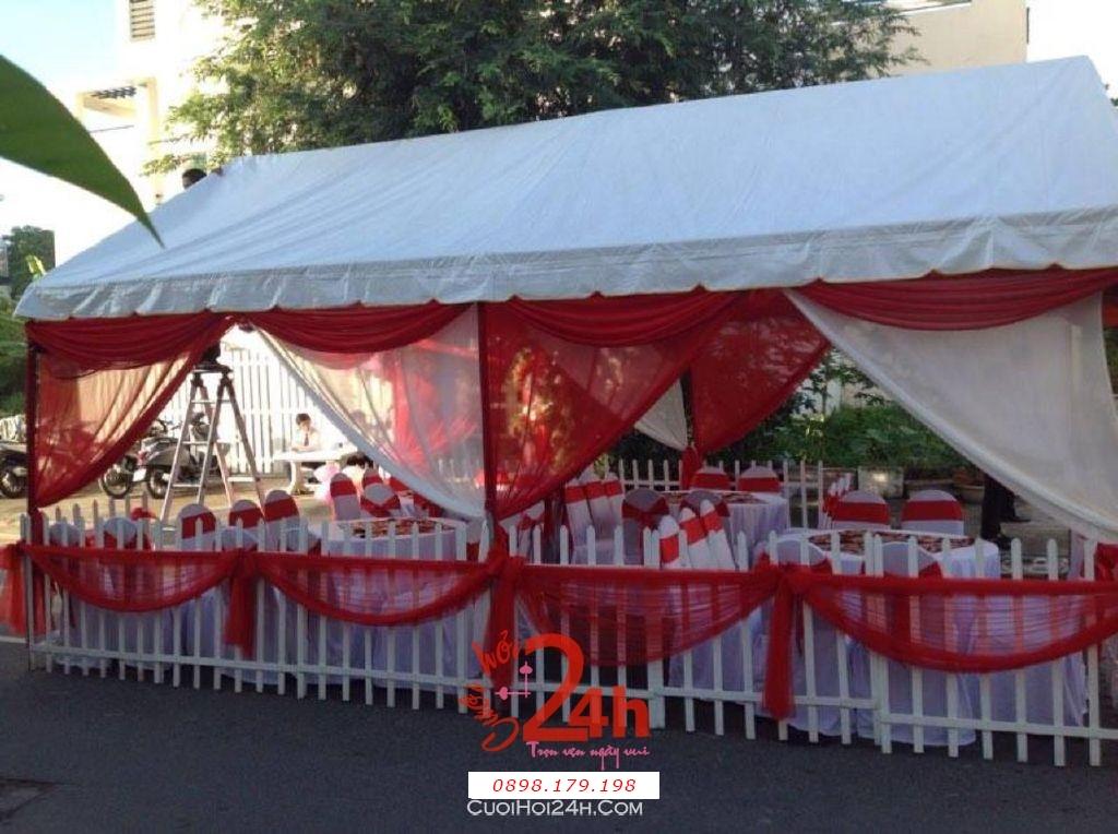 Dịch vụ cưới hỏi 24h trọn vẹn ngày vui chuyên trang trí nhà đám cưới hỏi và nhà hàng tiệc cưới | Cho thuê rạp cưới tông đỏ (2)