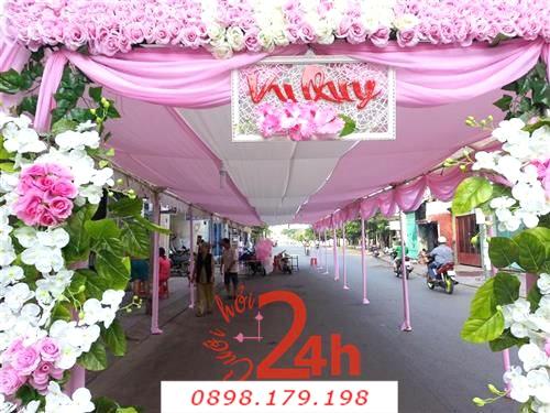 Dịch vụ cưới hỏi 24h trọn vẹn ngày vui chuyên trang trí nhà đám cưới hỏi và nhà hàng tiệc cưới | Khung rạp hai màu trắng hồng