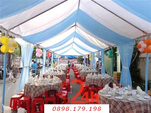 Dịch vụ cưới hỏi 24h trọn vẹn ngày vui chuyên trang trí nhà đám cưới hỏi và nhà hàng tiệc cưới | Nhà Bạt - khung rạp 2 màu trắng xanh biển