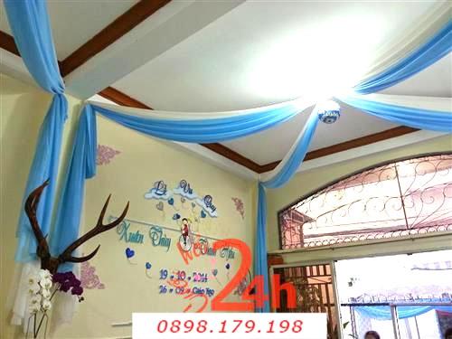 Dịch vụ cưới hỏi 24h trọn vẹn ngày vui chuyên trang trí nhà đám cưới hỏi và nhà hàng tiệc cưới | Cắt dán chữ xốp tông xanh biển