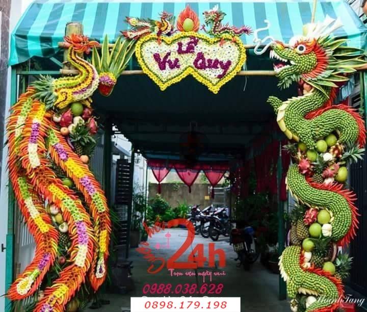 Dịch vụ cưới hỏi 24h trọn vẹn ngày vui chuyên trang trí nhà đám cưới hỏi và nhà hàng tiệc cưới | Rồng phụng trang trí cổng chào