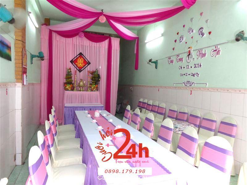 Dịch vụ cưới hỏi 24h trọn vẹn ngày vui chuyên trang trí nhà đám cưới hỏi và nhà hàng tiệc cưới | Trang trí nhà đám cưới tông tím hồng phấn hồng sen