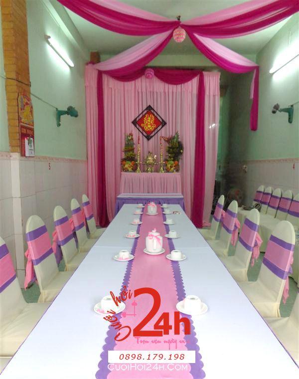 Dịch vụ cưới hỏi 24h trọn vẹn ngày vui chuyên trang trí nhà đám cưới hỏi và nhà hàng tiệc cưới | Trang trí nhà đám cưới tông tím hồng phấn