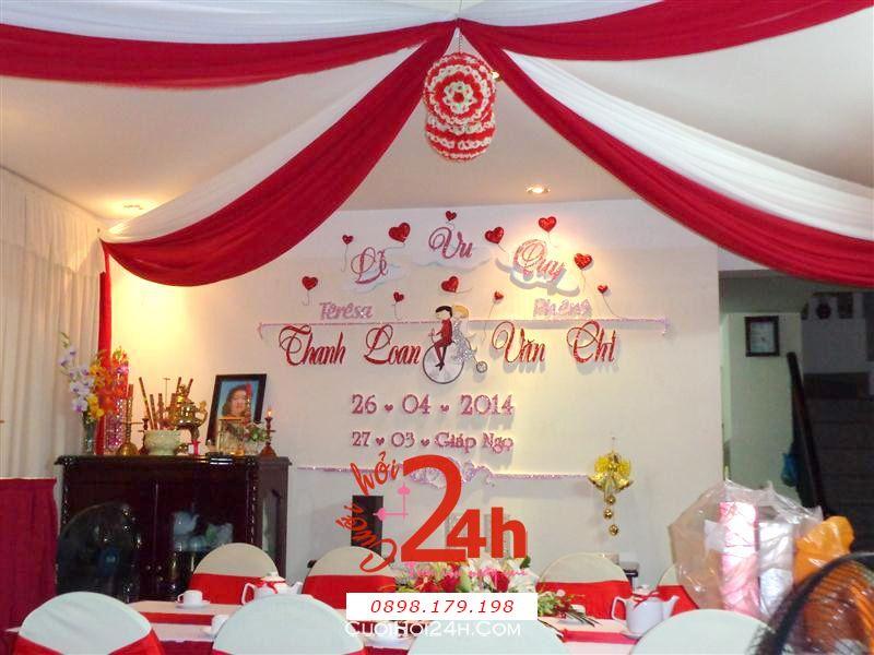 Dịch vụ cưới hỏi 24h trọn vẹn ngày vui chuyên trang trí nhà đám cưới hỏi và nhà hàng tiệc cưới | Trang trí nhà cưới hỏi tông trắng đỏ