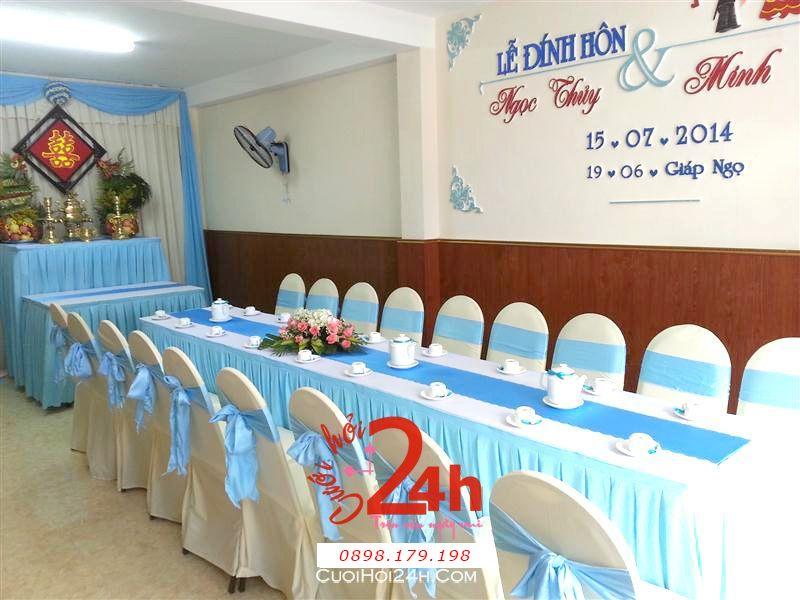 Dịch vụ cưới hỏi 24h trọn vẹn ngày vui chuyên trang trí nhà đám cưới hỏi và nhà hàng tiệc cưới | Trang trí nhà cưới hỏi tông xanh ngọc nhẹ nhàng