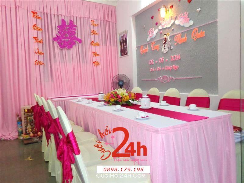 Dịch vụ cưới hỏi 24h trọn vẹn ngày vui chuyên trang trí nhà đám cưới hỏi và nhà hàng tiệc cưới | Trang trí nhà cưới hỏi tông hồng