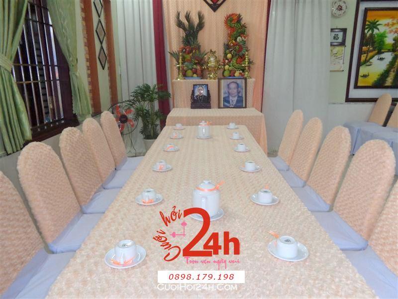 Dịch vụ cưới hỏi 24h trọn vẹn ngày vui chuyên trang trí nhà đám cưới hỏi và nhà hàng tiệc cưới | Trang trí nhà cưới tông kem vàng sang trọng