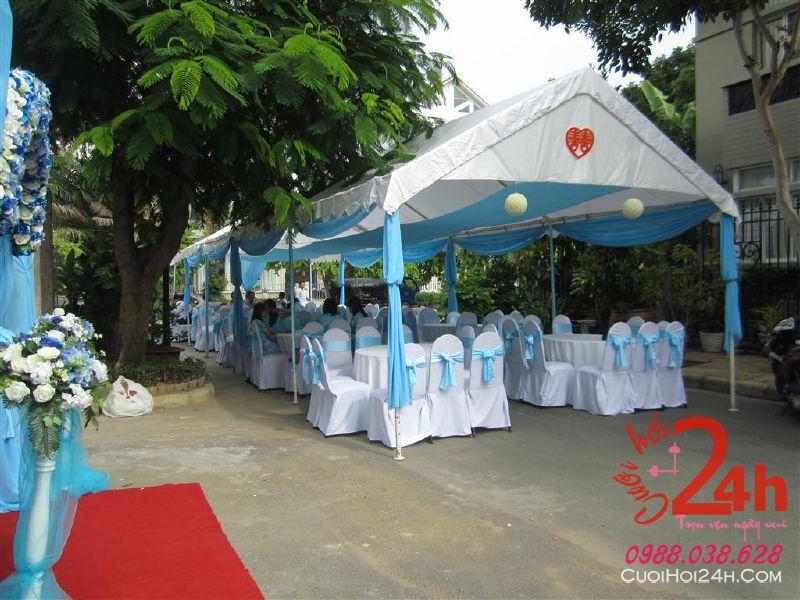Dịch vụ cưới hỏi 24h trọn vẹn ngày vui chuyên trang trí nhà đám cưới hỏi và nhà hàng tiệc cưới | Nhà bạt, khung rạp voan trắng xanh biển