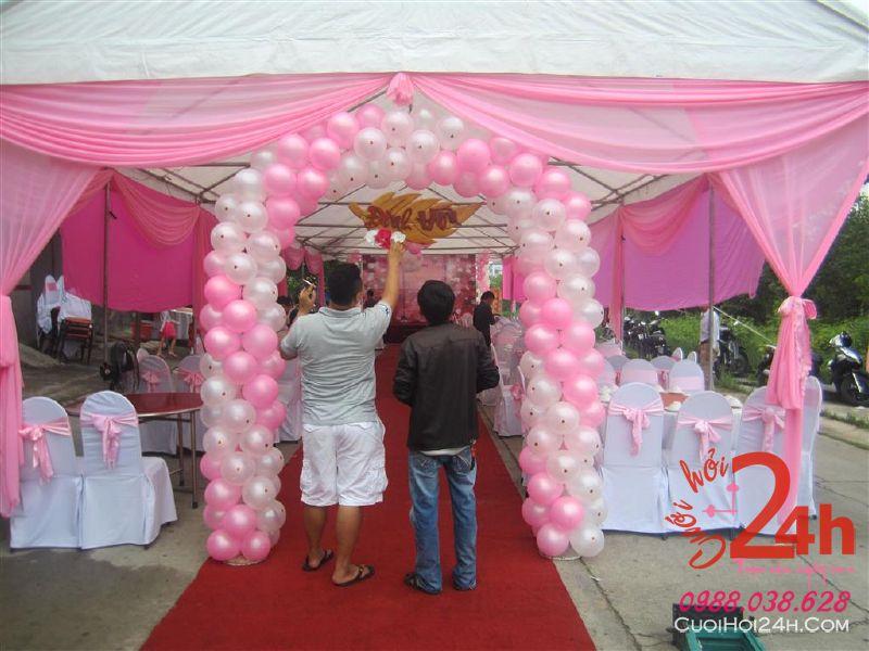 Dịch vụ cưới hỏi 24h trọn vẹn ngày vui chuyên trang trí nhà đám cưới hỏi và nhà hàng tiệc cưới | Khung rạp tông hồng cho đám tiệc, sự kiện