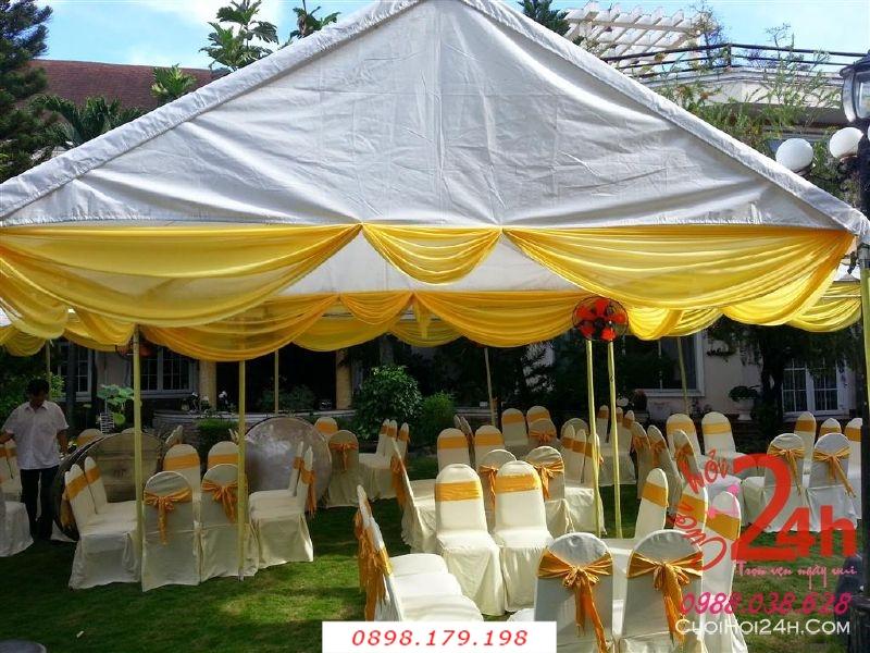 Dịch vụ cưới hỏi 24h trọn vẹn ngày vui chuyên trang trí nhà đám cưới hỏi và nhà hàng tiệc cưới | Nhà Bạt - khung rạp mẫu vàng trắng