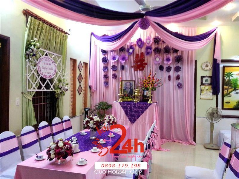 Dịch vụ cưới hỏi 24h trọn vẹn ngày vui chuyên trang trí nhà đám cưới hỏi và nhà hàng tiệc cưới | Trang trí nhà cưới hỏi hoa giấy tông tím hồng lãng mạn