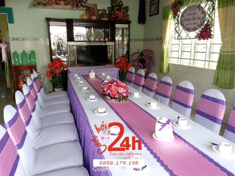 Dịch vụ cưới hỏi 24h trọn vẹn ngày vui chuyên trang trí nhà đám cưới hỏi và nhà hàng tiệc cưới | Trang trí nhà cưới hỏi tím hồng trang trọng, đẹp mắt