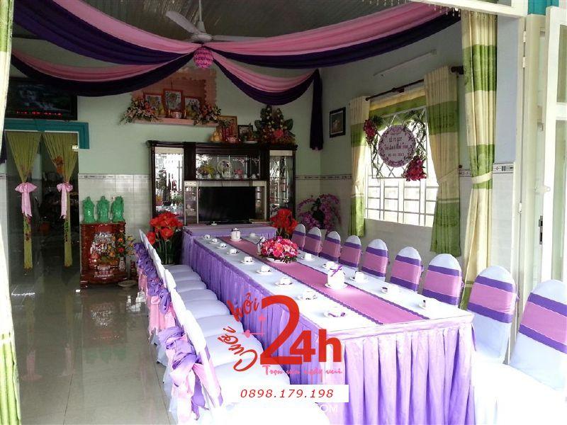 Dịch vụ cưới hỏi 24h trọn vẹn ngày vui chuyên trang trí nhà đám cưới hỏi và nhà hàng tiệc cưới | Trang trí nhà cưới hỏi tông tím hồng trang nhã dễ thương