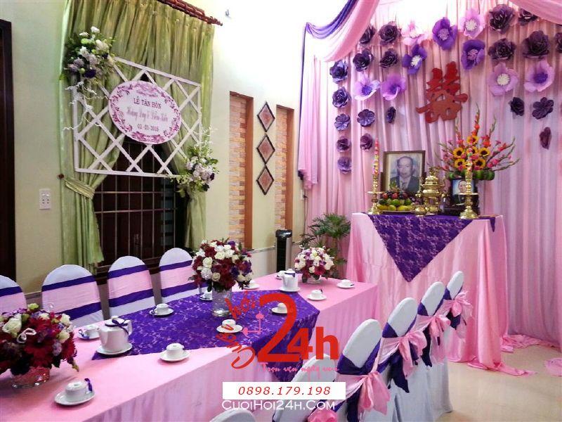 Dịch vụ cưới hỏi 24h trọn vẹn ngày vui chuyên trang trí nhà đám cưới hỏi và nhà hàng tiệc cưới | Trang trí nhà cưới hỏi tông hồng tím lãng mạn
