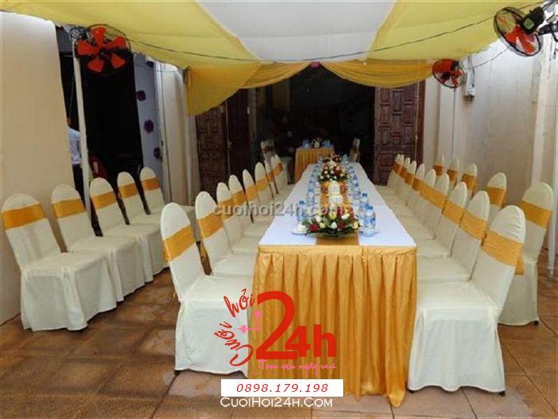 Dịch vụ cưới hỏi 24h trọn vẹn ngày vui chuyên trang trí nhà đám cưới hỏi và nhà hàng tiệc cưới | Trang trí nhà cưới hỏi tông vàng trang nhã