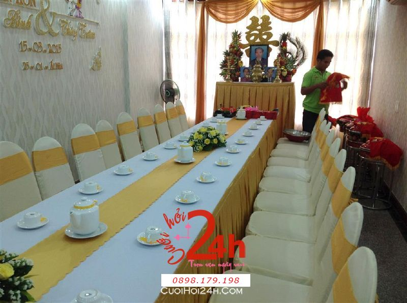 Dịch vụ cưới hỏi 24h trọn vẹn ngày vui chuyên trang trí nhà đám cưới hỏi và nhà hàng tiệc cưới | Trang trí nhà cưới tông vàng  nhạt