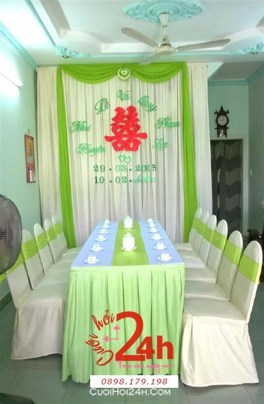 Dịch vụ cưới hỏi 24h trọn vẹn ngày vui chuyên trang trí nhà đám cưới hỏi và nhà hàng tiệc cưới | Trang trí nhà cưới hỏi với màu xanh đọt chuốt tươi mát