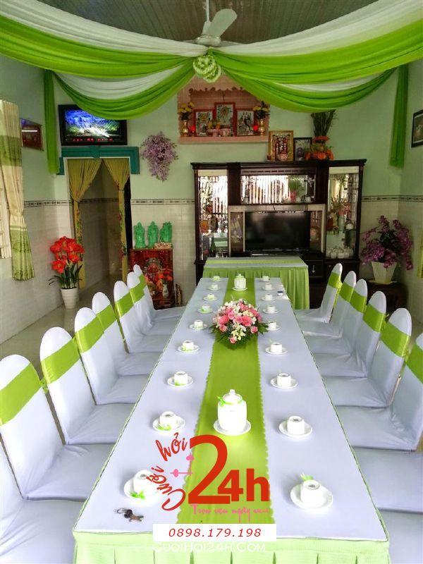 Dịch vụ cưới hỏi 24h trọn vẹn ngày vui chuyên trang trí nhà đám cưới hỏi và nhà hàng tiệc cưới | Trang trí nhà cưới hỏi tông màu xanh đọt chuối mát ngọt