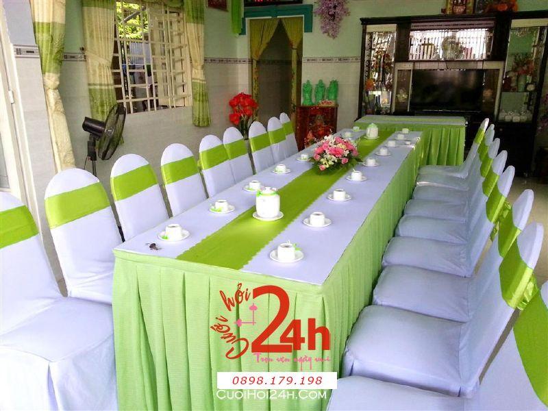 Dịch vụ cưới hỏi 24h trọn vẹn ngày vui chuyên trang trí nhà đám cưới hỏi và nhà hàng tiệc cưới | Trang trí nhà đám cưới với màu xanh đọt chuối tươi đẹp
