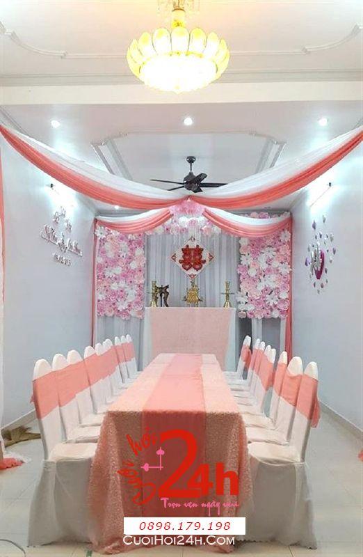Dịch vụ cưới hỏi 24h trọn vẹn ngày vui chuyên trang trí nhà đám cưới hỏi và nhà hàng tiệc cưới | Trang trí nhà cưới hỏi hoa giấy tông trắng hồng đào