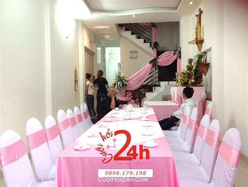 Dịch vụ cưới hỏi 24h trọn vẹn ngày vui chuyên trang trí nhà đám cưới hỏi và nhà hàng tiệc cưới | Trang trí nhà cưới hỏi tông trắng hồng
