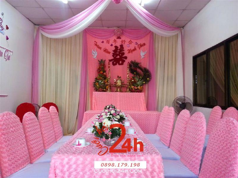 Dịch vụ cưới hỏi 24h trọn vẹn ngày vui chuyên trang trí nhà đám cưới hỏi và nhà hàng tiệc cưới | Trang trí nhà cưới hỏi cao cấp tông màu hồng tươi ngọt