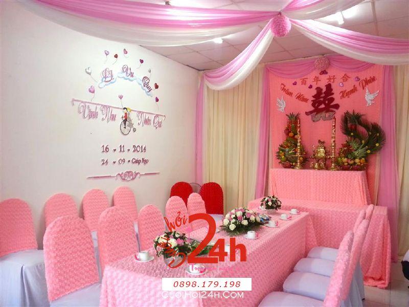 Dịch vụ cưới hỏi 24h trọn vẹn ngày vui chuyên trang trí nhà đám cưới hỏi và nhà hàng tiệc cưới | Trang trí nhà cưới hỏi cao cấp tông màu hồng tươi tắn