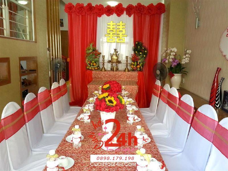 Dịch vụ cưới hỏi 24h trọn vẹn ngày vui chuyên trang trí nhà đám cưới hỏi và nhà hàng tiệc cưới | Trang trí nhà cưới với tông màu đỏ đặc biệt