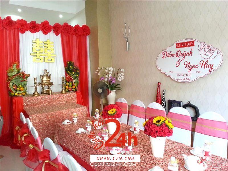 Dịch vụ cưới hỏi 24h trọn vẹn ngày vui chuyên trang trí nhà đám cưới hỏi và nhà hàng tiệc cưới | Trang trí nhà cưới hoa giấy với tông màu đỏ đặc biệt