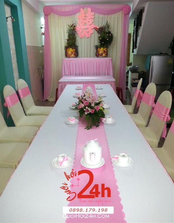 Dịch vụ cưới hỏi 24h trọn vẹn ngày vui chuyên trang trí nhà đám cưới hỏi và nhà hàng tiệc cưới | Trang trí nhà cưới hỏi tông hồng phấn