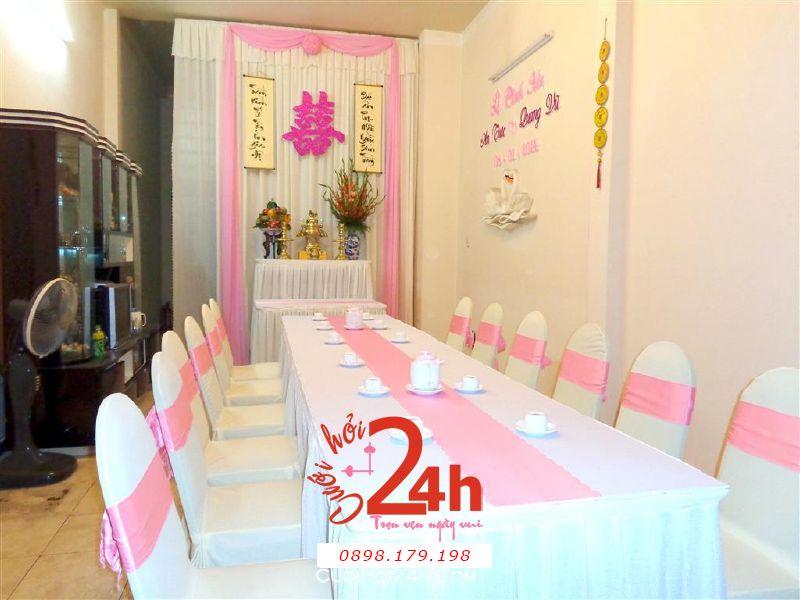 Dịch vụ cưới hỏi 24h trọn vẹn ngày vui chuyên trang trí nhà đám cưới hỏi và nhà hàng tiệc cưới | Trang trí nhà cưới tông hồng sang trọng