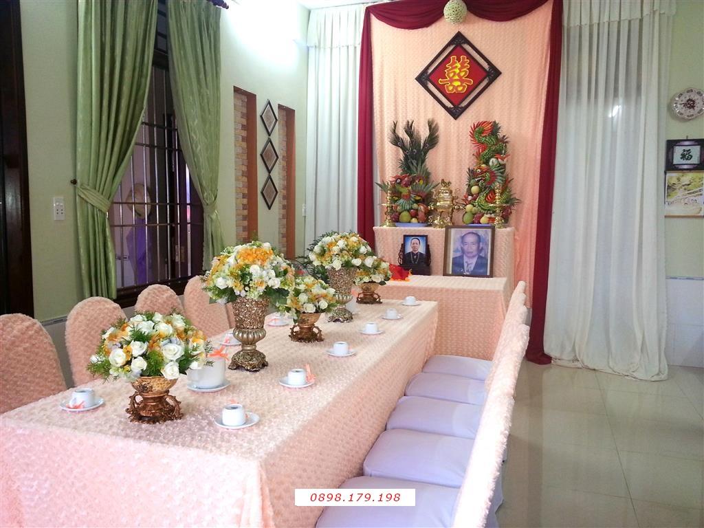 Dịch vụ cưới hỏi 24h trọn vẹn ngày vui chuyên trang trí nhà đám cưới hỏi và nhà hàng tiệc cưới | Trang trí nhà cưới tông màu hường