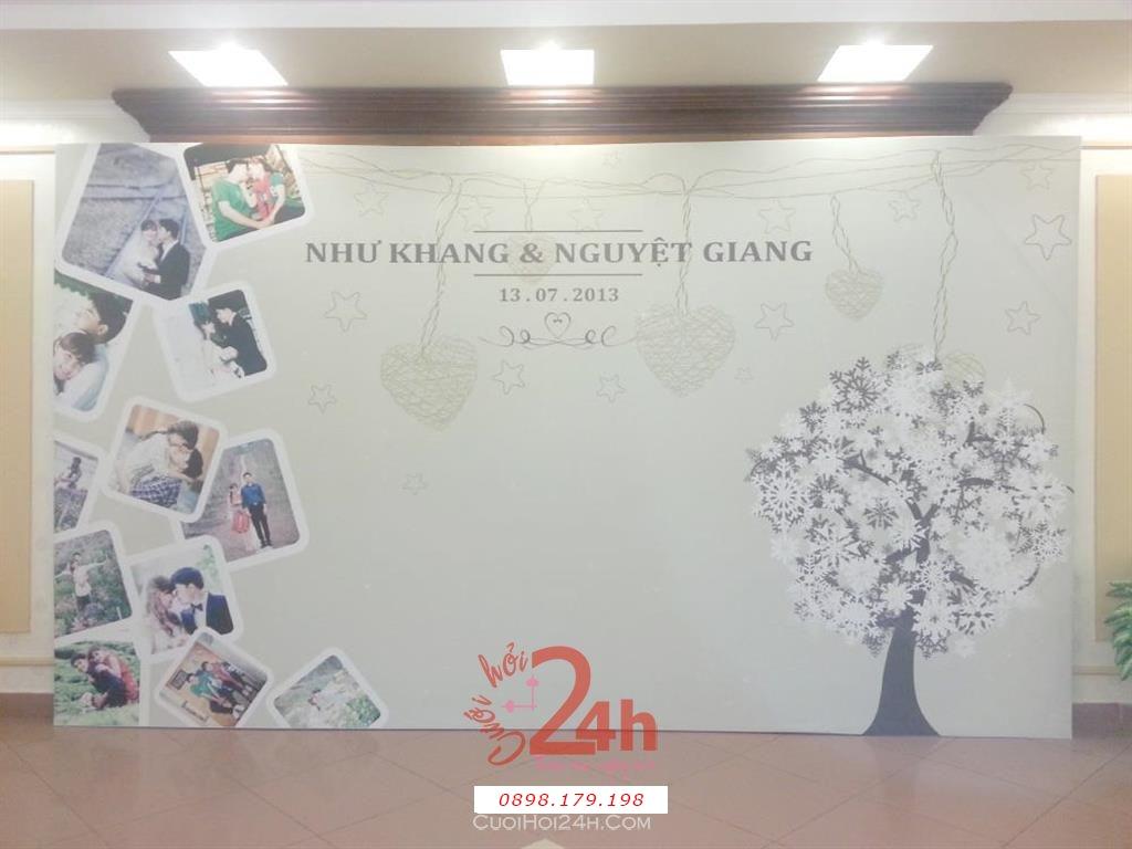 Dịch vụ cưới hỏi 24h trọn vẹn ngày vui chuyên trang trí nhà đám cưới hỏi và nhà hàng tiệc cưới | Backdrop cùng ảnh và cây