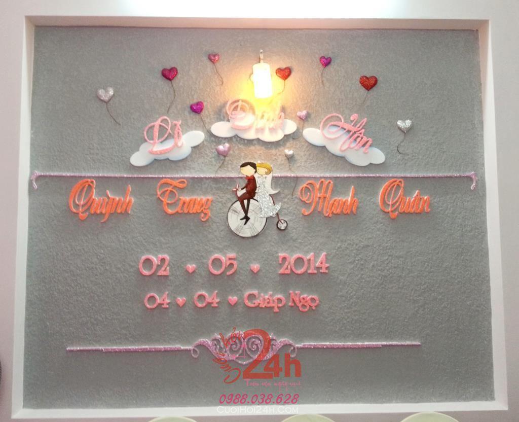 Dịch vụ cưới hỏi 24h trọn vẹn ngày vui chuyên trang trí nhà đám cưới hỏi và nhà hàng tiệc cưới | Cắt dán chữ xốp lễ đính hôn Quỳnh Trang & Mạnh Quân