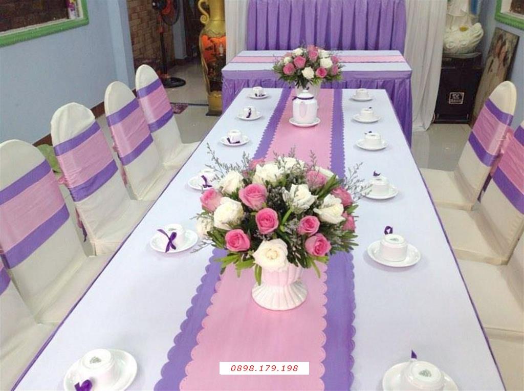 Dịch vụ cưới hỏi 24h trọn vẹn ngày vui chuyên trang trí nhà đám cưới hỏi và nhà hàng tiệc cưới | Cho thuê bàn ghế tông màu tím hồng (2)