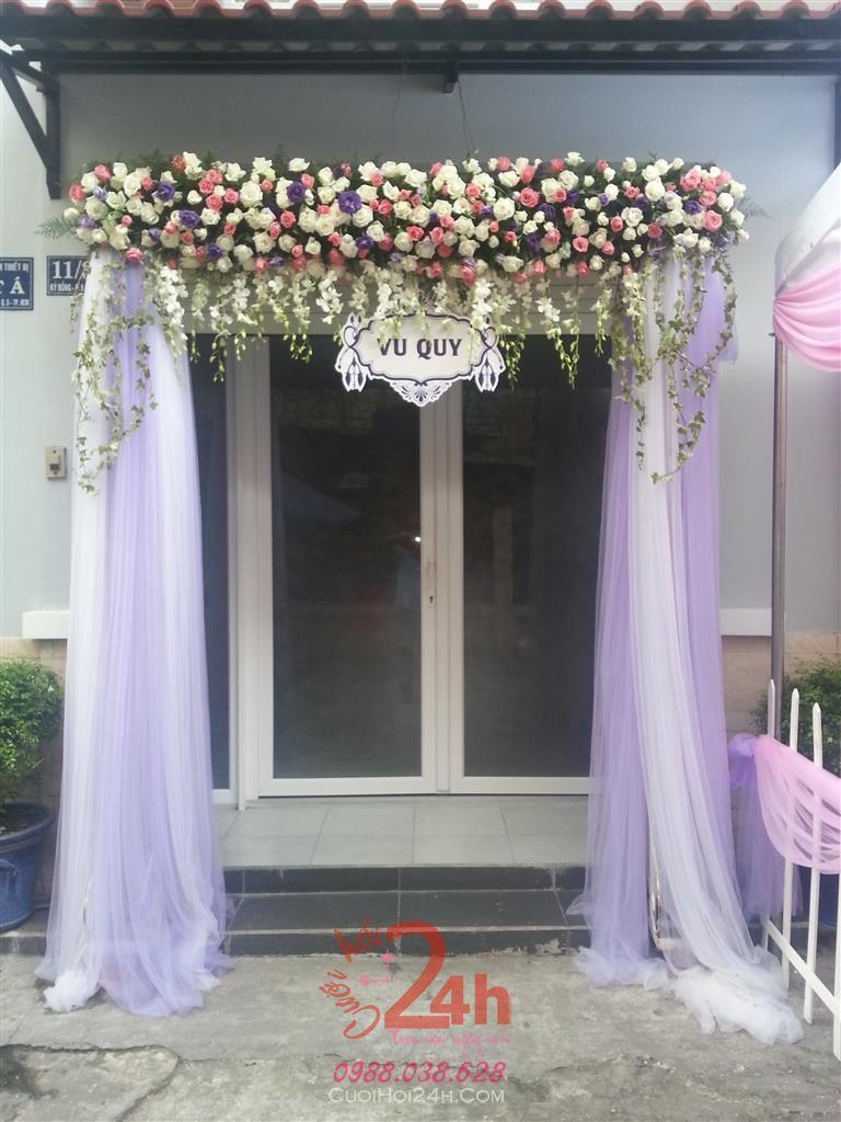 Dịch vụ cưới hỏi 24h trọn vẹn ngày vui chuyên trang trí nhà đám cưới hỏi và nhà hàng tiệc cưới | Cổng cưới hoa tươi