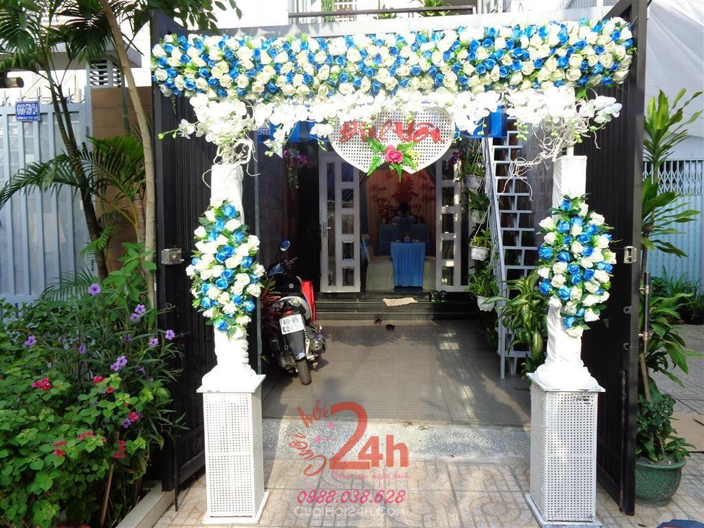 Dịch vụ cưới hỏi 24h trọn vẹn ngày vui chuyên trang trí nhà đám cưới hỏi và nhà hàng tiệc cưới | Cổng cưới hoa vải