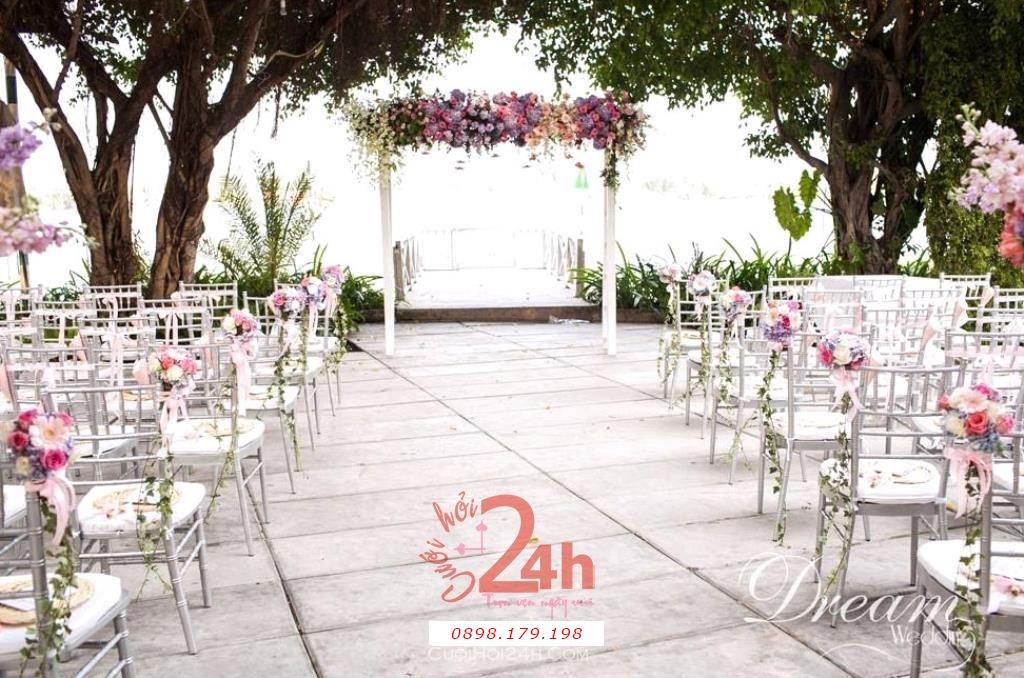 Dịch vụ cưới hỏi 24h trọn vẹn ngày vui chuyên trang trí nhà đám cưới hỏi và nhà hàng tiệc cưới | Dịch vụ trang trí không gian tiệc cưới ngoài trời mẫu đẹp