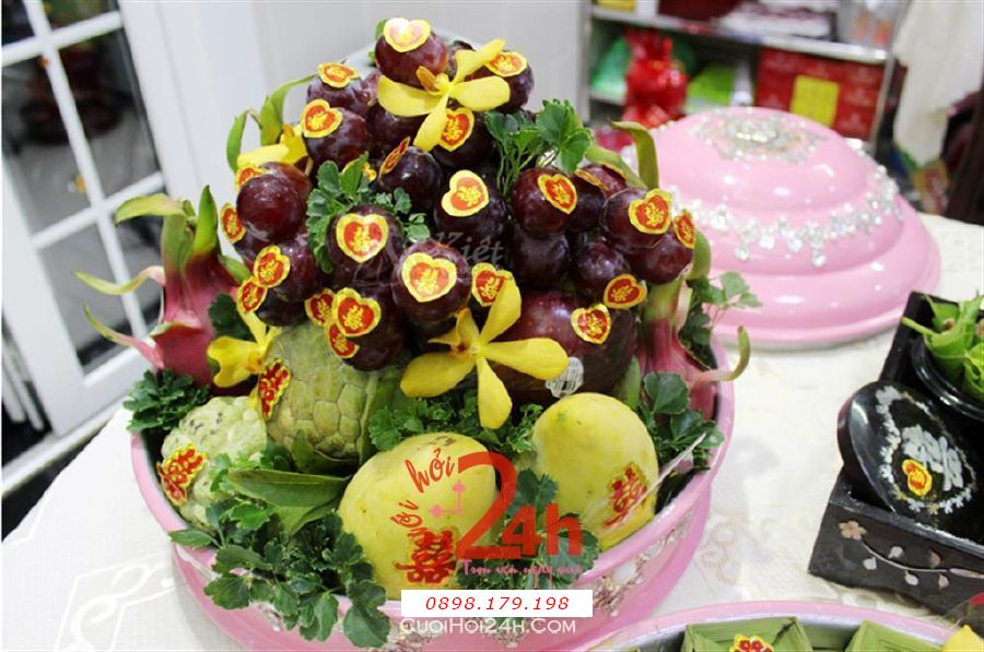 Dịch vụ cưới hỏi 24h trọn vẹn ngày vui chuyên trang trí nhà đám cưới hỏi và nhà hàng tiệc cưới | Mâm quả trái cây cưới hỏi ấn tượng